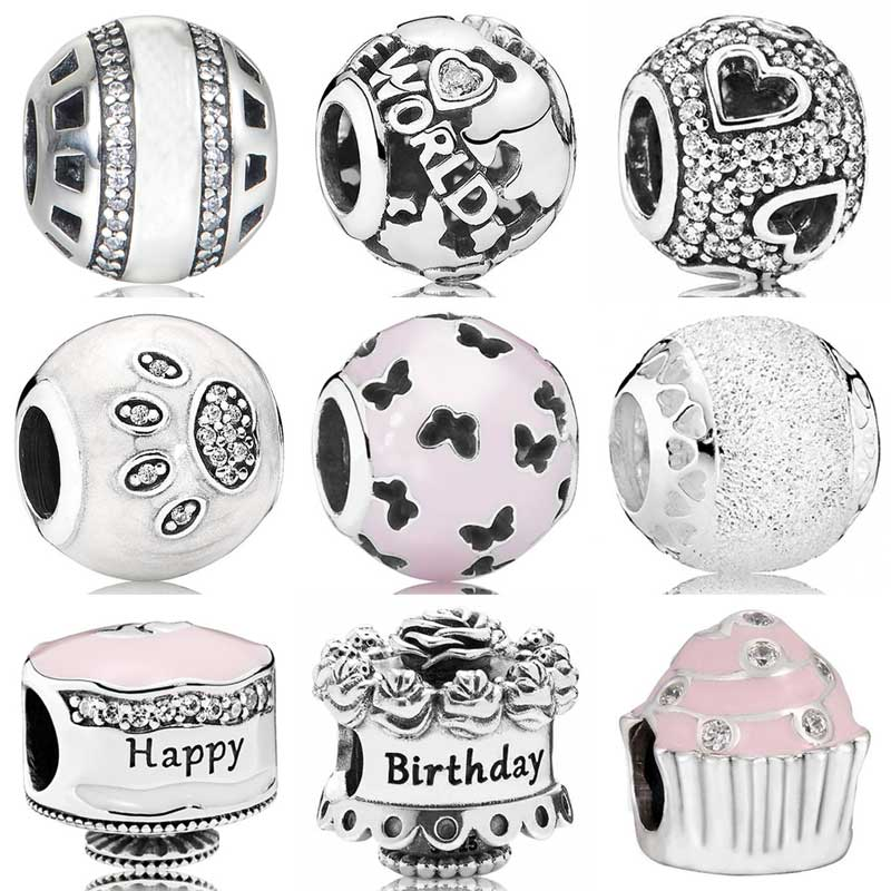 Logo Forever All Around The World Happy Birthday Cake Tumbling Hearts Beads Fit Pandora Bracelet 925 Sterling Silver Charm(China)