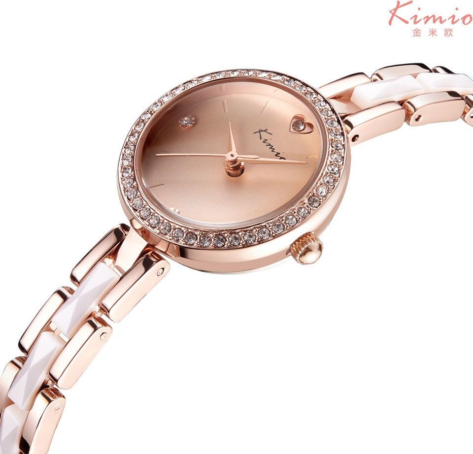 KIMIO Women Watches Top Brand Stainless Steel Imitation Ceramic Strap Quartz Watch Love Heart Rhinestone Bracelet Watch Horloge