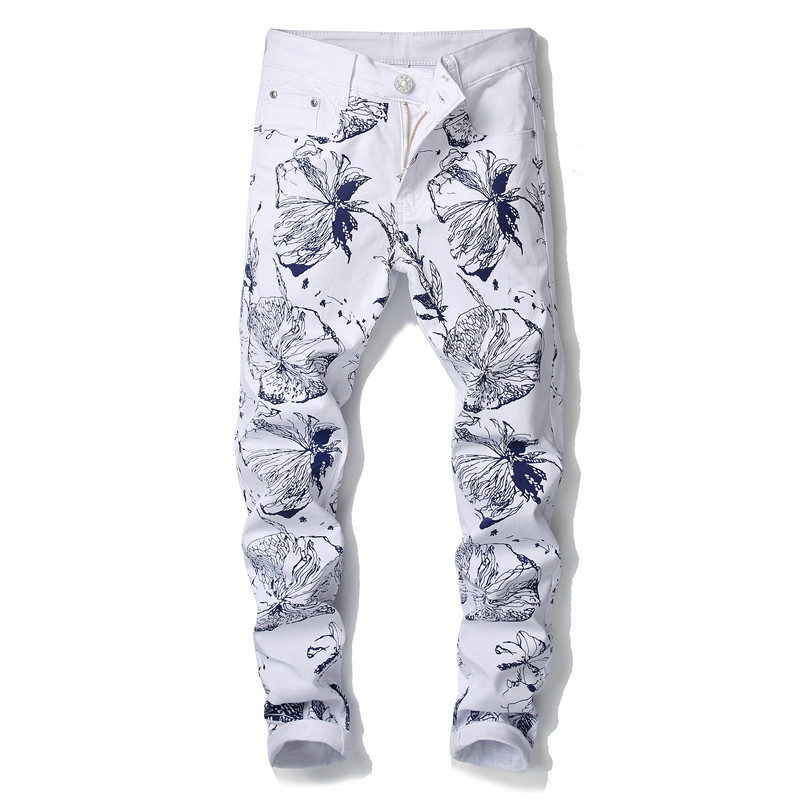 New Style European And American Style Digital Print Pants Men's Slim Fit Flower Pants Fashion Elasticity Skinny Casual Trousers