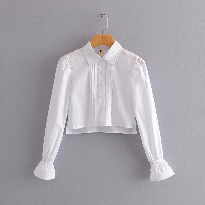 2020 Women Fashion Puff Sleeve White Color Short Shirt Blouses Women Long Sleeve Press Pleats Femininas Chic Chemise Tops LS6501