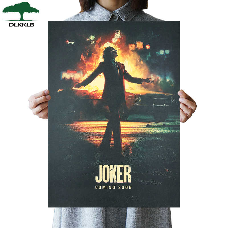 DLKKLB DC New Movie Poster Joker Kraft Paper Vintage Style Cartoon Wall Sticker 51x36cm Home Bedroom Decorative Painting