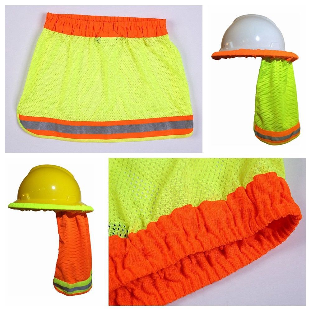 Summer Sun Shade Safety Hard Hat Neck Shield Helmets Reflective Stripe Useful Mesh Reflective Cap Cover for Construction Workers