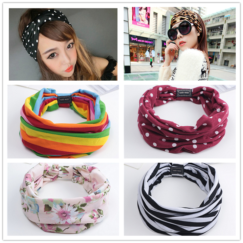 New Women Turban Rainbow Dot Flower Print Wide Headband For Girls Cotton Fabric Headwrap Yoga Headwrap Bow Hairband For Ladies
