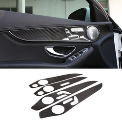 Soft Carbon Fiber For Mercedes Benz C Class W205 GLC Class 2014-2020 Interior Door Decoration Panel Cover Trim Car Accessories