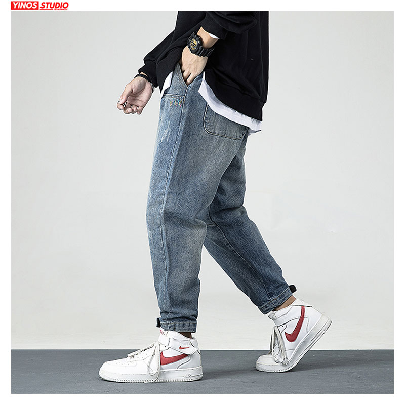 Dropshipping 2020 Japanese Mens Pants Men Solid Streetwear Pocket Denmin Pants Male Distressed Jeans