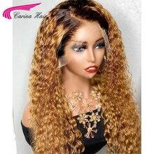 Волнистые светлые Омбре вьющиеся кружевные передние человеческие волосы, искусственные волосы 13x6, передний парик на сетке 180%, коричневые зеркальные кружевные передние парики