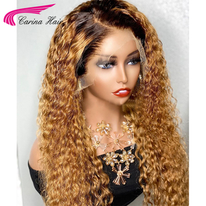 Image 1 - Honey Blonde Ombre Curly Lace Front Human Hair Wigs With Baby Hair 13x6 Lace Front Wig 180% Ombre Brown 360 Lace Frontal Wigs