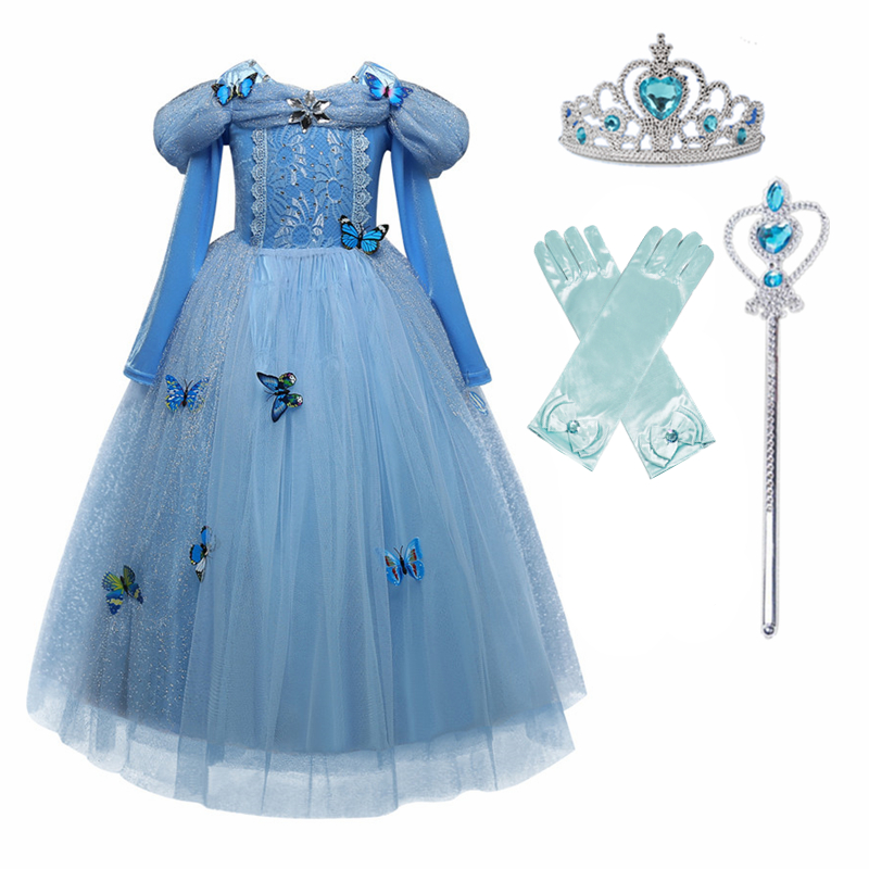 Princess Cosplay Costume Elegant Princess Dress for Girls Children's Party Dress-up 4-10T Kids Ball Gown 5