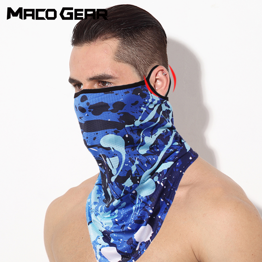 Sports Bandana Ice Silk Neck Gaiter Cover Hanging Ear Triangle Face Tube Scarf Fishing Headband Running Hiking Mask Men Women 2