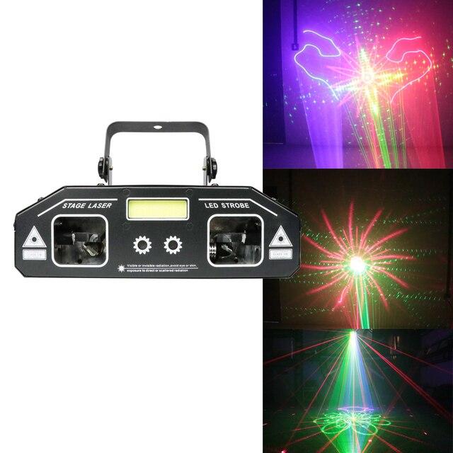 Luz láser para escenario DJ, iluminación estroboscópica 2 en 1, proyector estroboscópico para fiesta en casa, discoteca, vacaciones, 2019