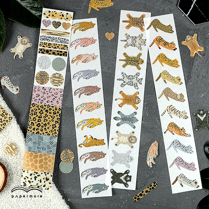 60mm Kawaii Leopard Washi Masking Tape Sticker Scrapbooking Cute DIY Bullet Journal Decorative Adhesive Tape Stationery Supplies