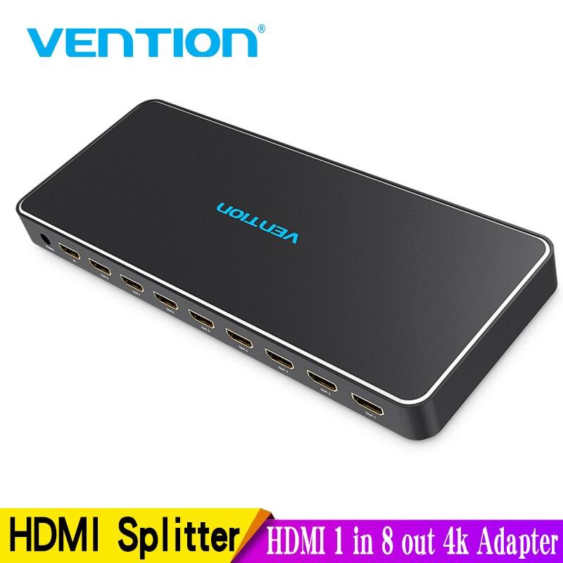 Répartiteur HDMI Vention 1 en 8 sur 4k 1x8 adaptateur de commutateur HDMI avec alimentation pour TV PS3/4 séparateur HDMI pour ordinateur portable en métal