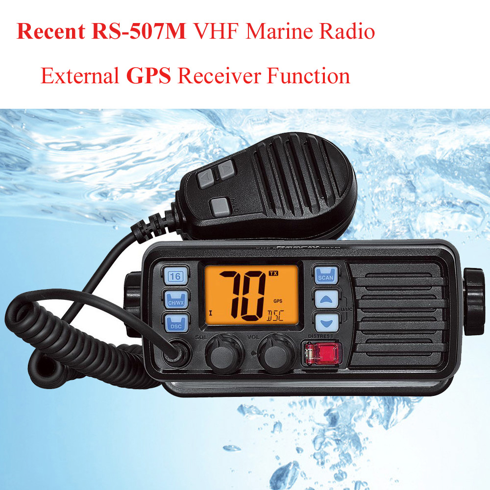 With GPS Recent RS-507M VHF Mobile Marine Radio Float Class D Weather Channel With Alert 25W Walkie Talkie