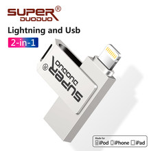 IOS OTG 2 in 1 metal usb flash sürücü 128gb Gerçek kapasite usb 2.0 kalem sürücü 8gb 16gb pendrive 32 gb bellek sopa 64gb iphone
