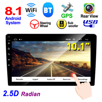2 DIN 10.1 Inch QUAD-core 8.1 HD Capacitive Touch Screen Bluetooth Car MP5 GPS Player Dual USB AM FM AUX In Mirrorlink WIFI image