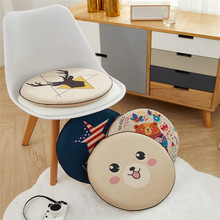 Round Memory Foam Dining Chair Cushion Imitation Linen Soft Comfortable Household Office Tatami Mat Christmas Home Decoration