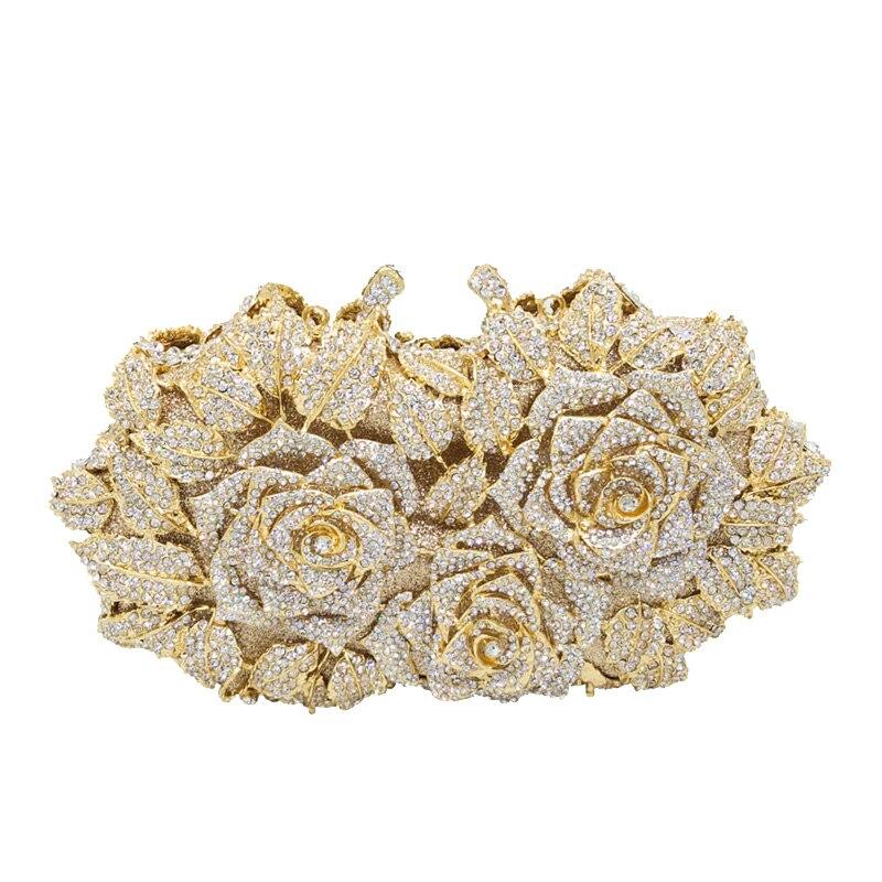 Éblouissante femmes or Rose fleur évider cristal soirée métal embrayages petite Minaudiere sac à main sac à main boîte de mariage embrayage Ba