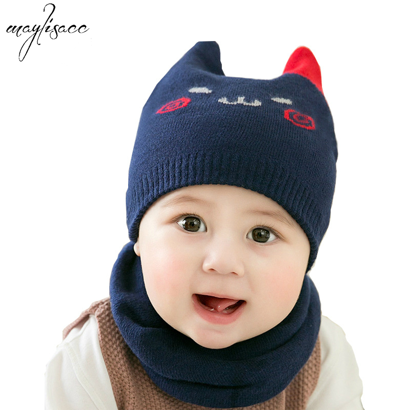 Children Baby's Knitted Hat Scarf Set Autumn Winter Babies' Cute Cats Hats Heating And Ear Protecting Knitted Faux Wool Hat Suit
