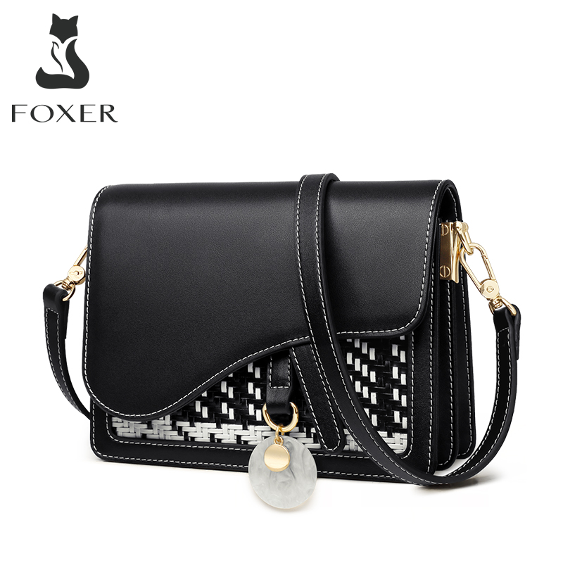 FOXER Brand Women Shoulder  Bags Ladies Messenger Bag Fashion Crossbody Bags Split Leather Purse Female Stylish Flap Bag 996042F