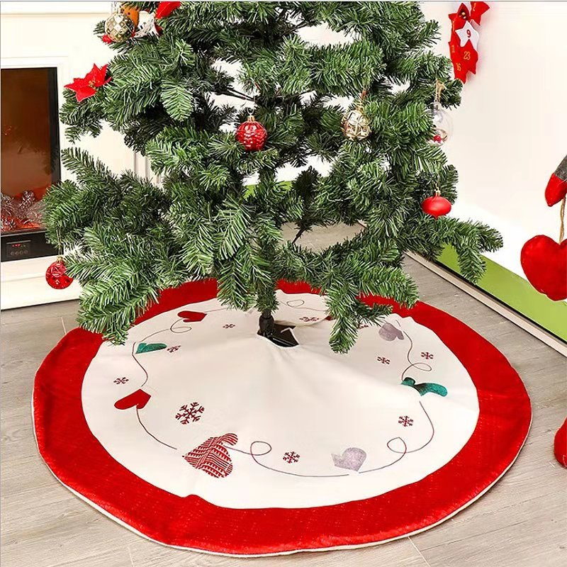 New Christmas Tree Skirt Decorations Red White Heart Printing Xmas