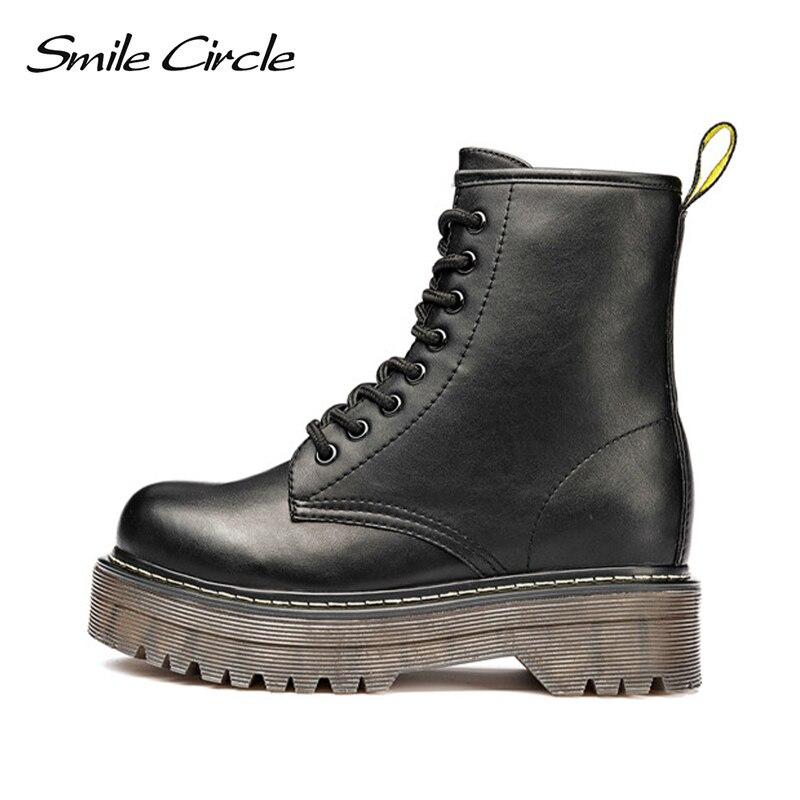 Image 3 - Женские мотоциклетные ботинки со смайликом и круглым Size36 41; сезон осень; коллекция 2018 года; модные армейские ботинки с круглым носком на шнуровке; женская обувь-in Полусапожки from Обувь
