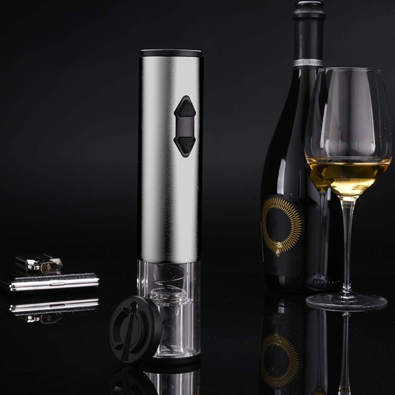 Electric Wine Opener, Battery Operated Electric Wine Bottle Opener Automatic Aluminium Cordless Corkscrew With Foil Cutter For H