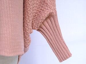Image 5 - Fitshinling более Размеры d длинный свитер кардиган женский одежда в стиле пэчворк; С рукавами «летучая мышь» с длинным рукавом, верхняя одежда для женщин зима большой Размеры куртка пальто