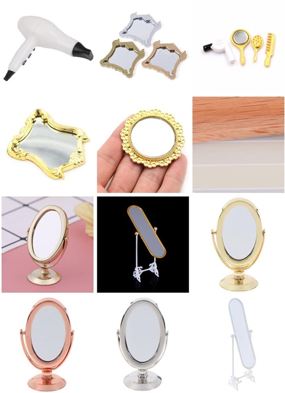 1pc Plastic Mirror Dollhouse Furniture Plastic Comb Hair Dryer Mirror Frame Mirror Accessories Doll House Miniatures 1:12 1:12