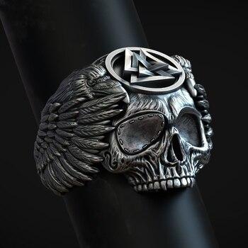 FDLK-Anillo de plata estilo Punk para hombre, Odín con cuervos, triángulos de colores, runas, Valknut Vikingo, anillo de Calavera, joyas de amuleto Nórdico