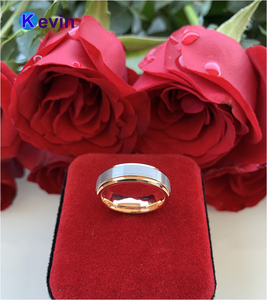 Image 4 - خاتم الزواج خاتم التنغستن الذهب الوردي للرجال والنساء الفرقة 6 مللي متر