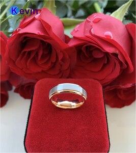 Image 4 - חתונה טבעת רוז זהב טונגסטן טבעת לגברים ונשים להקת 6MM