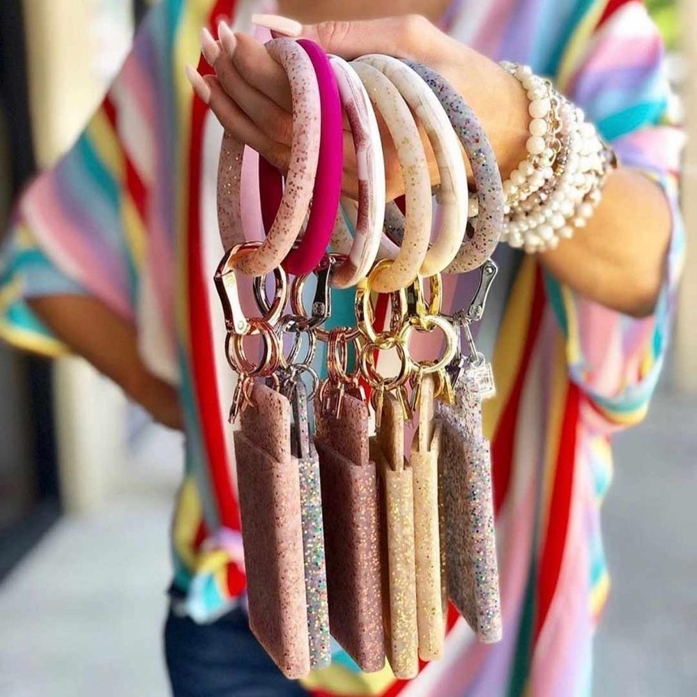 Dvacaman 2019 Fashion Shiny Silicone O Key Chain Circle For Women Girls PU Leather Wristlet Keychain Accessories Wholesale Gifts