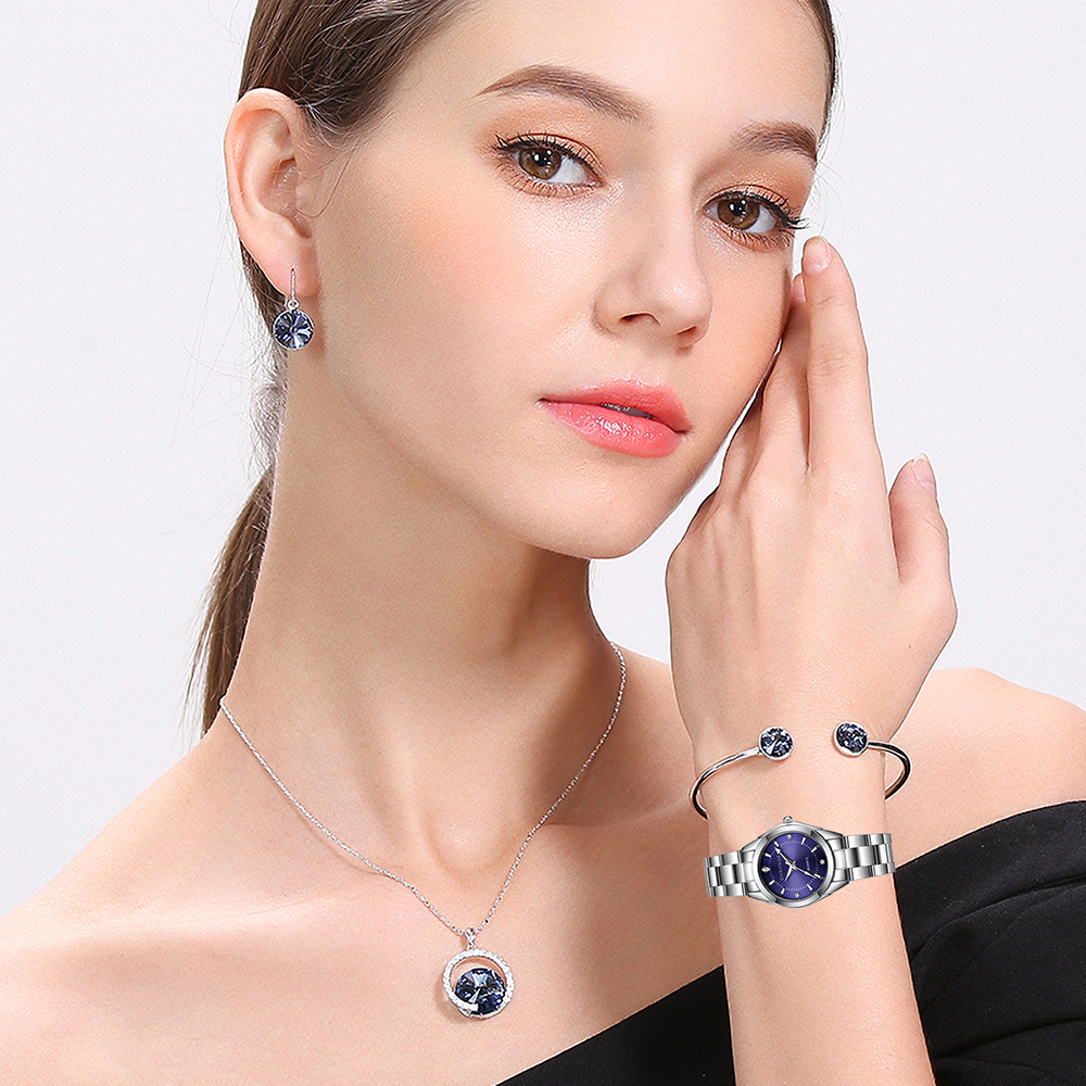 CHRONOS Women Stainless Steel Rhinestone Watch Silver Bracelet Quartz Waterproof Lady Business Analog Watches Pink Blue Dial 5