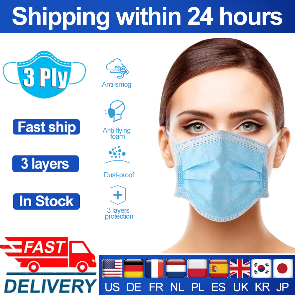 Disposable Face Mask 3 Layer Non Woven Anti-dust Breathing Filter Mouth Masks Dustproof Filter Facial Protective Cover Masks
