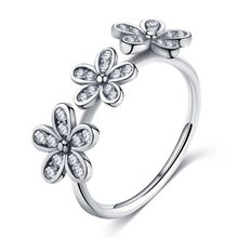 Classic Luxury Daisy Flower Real Solid 925 Sterling Silver Ring For Women AAA cz Zircon Wedding Engagement Rings Fine Jewelry(China)