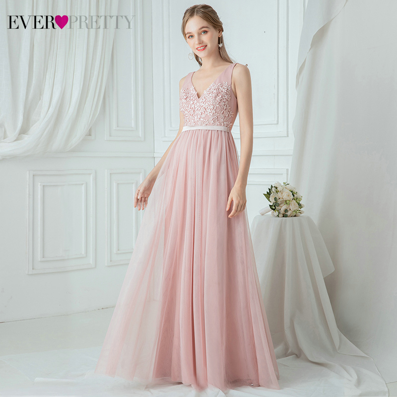 Illusion Pink Bridesmaid Dresses Ever Pretty A-Line Double V-Neck Sleeveless Floral Appliques Tulle Wedding Guest Dresses 2020