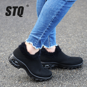 Image 1 - STQ Winter Women Sneakers Flats Platform Shoes Ladies Wedge Flats Sneakers Shoes Womens Lace Up Winter Casual Shoes ZJW2053