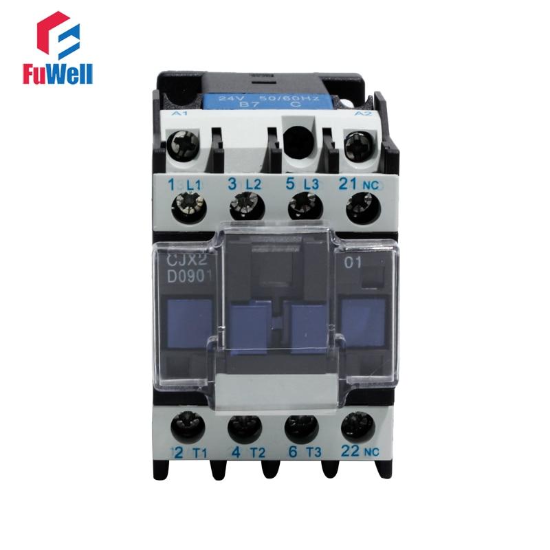 CJX2-0901 AC Contactor 09A 24V 36V 48V 110V 220V 380V Alternating Current Contactor NC Normal Closed Coil Voltage Contactor
