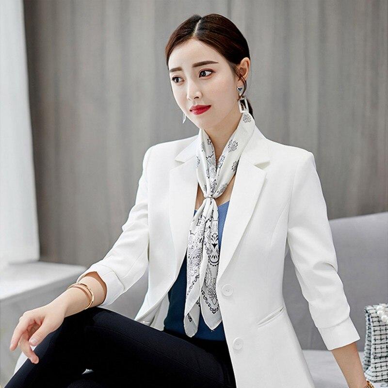 New Women Plus Size Korean Solid Color Blazer Jackets Female Long Sleeves Fashion Slim Blazer Black White Women Blazer Outwears