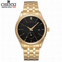 CHENXI, золотые часы, мужские часы, Топ бренд, роскошные, известные наручные часы, мужские часы, золотые кварцевые наручные часы, календарь, Relogio Masculino