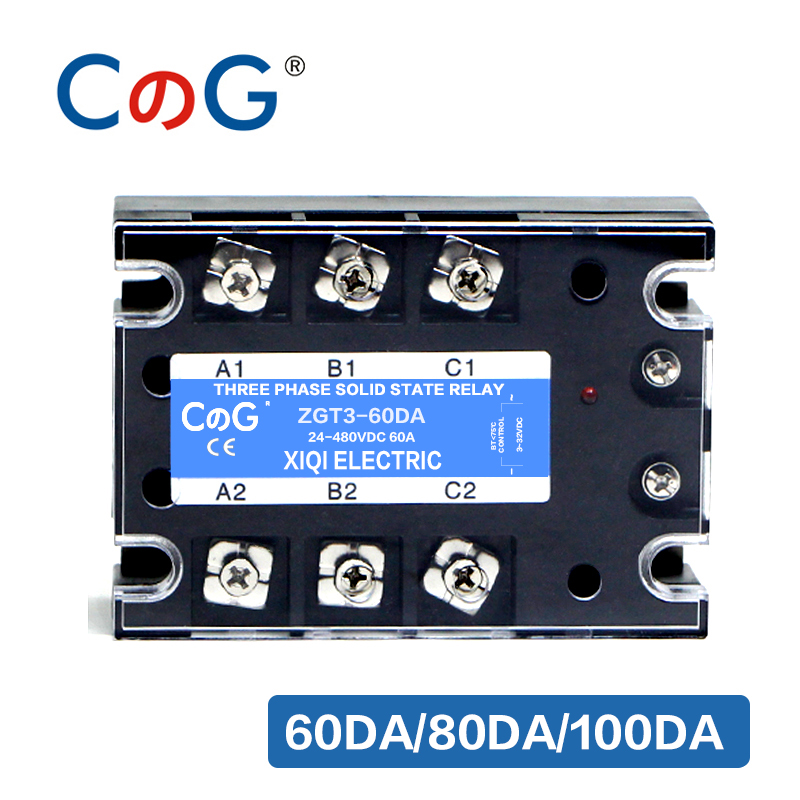 CG 3 Phase 60A 80A 100A DA Three Phase SSR 3-32V DC Control 24-480V AC Solid State Relay SSR DC To AC Relay