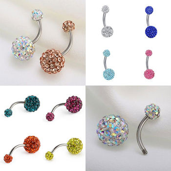 1PC Crystal Steel Belly Piercings Navel Piercing Sexy Piercing Ear Piercings Navel Earring Body Jewelry Round Body Ring Jewelry image