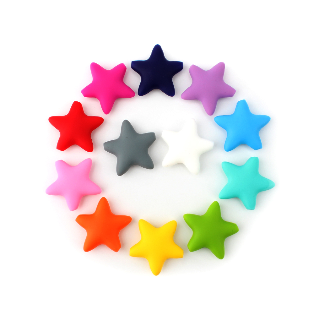 Keep&grow Stars Silicone Beads 12Colors Baby Teethers Food Grade Baby Teething Toys For Pacifier Chain Necklace DIY Accessories