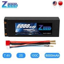 Zeee – batterie Lipo 2S RC, 7.4V, 8000 c, mAh, avec prise en T de Style Dean, pour modèle de voiture RC, bateau, camion, 4mm