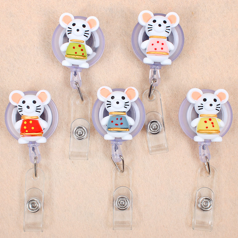 Colors Clothes Mouse Retractable Creative Plastic Badge Holder Reel Student Nurse Exhibition Enfermera Girl Name Card Chest Card