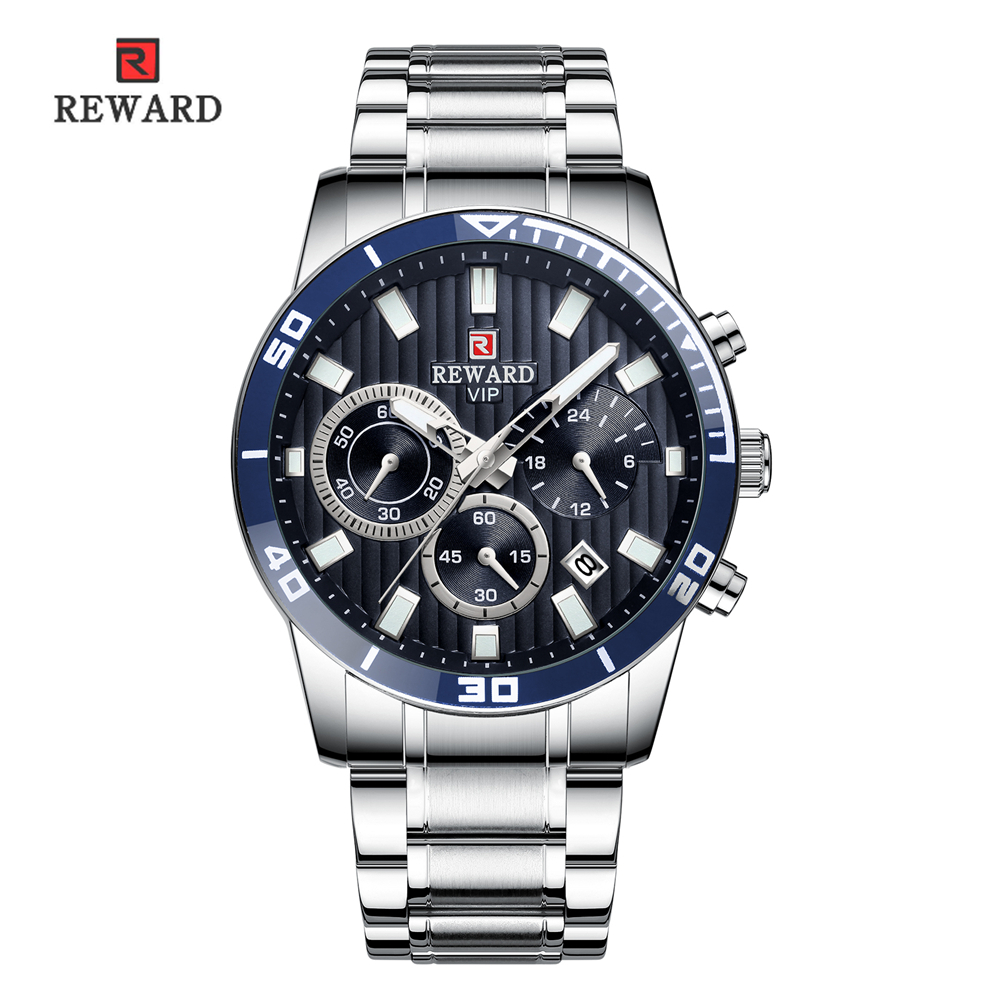 REWARD Watch Men Fashion Classic Design Luminous Auto Date Gold Stainless Military Watches Waterproof Reloj Deportivo Hombre