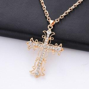 2020 New fashion saint light cross pendant necklace for women statement necklace trendy hip hop punk jewlery best gift