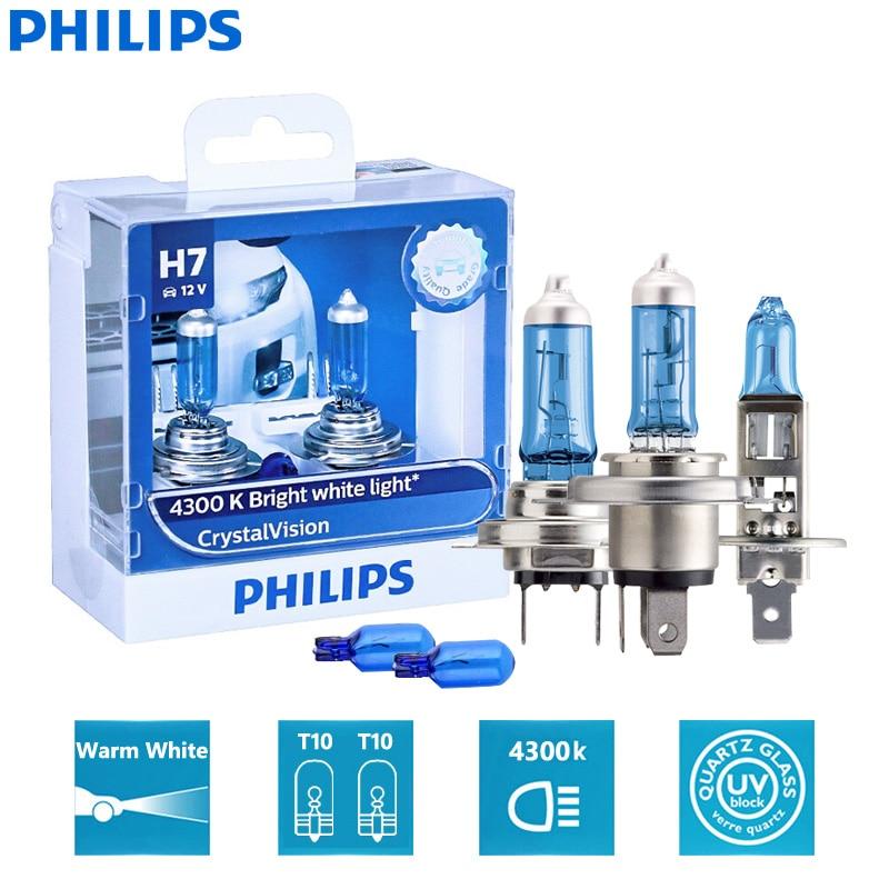 Philips Crystal Vision H1 H4 H7 H11 HB2 HB3 HB4 9003 9005 9006 12V CV 4300K яркий белый автомобильный галогенный головной светильник (двойной)