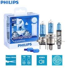 Philips-Lámpara de cabeza halógena para coches, bombilla H1, H4, H7, H11, 9003, 9005, 9006, HB2, HB3 y HB4, de 12V y DV 4300K, luz blanca brillante, faros delanteros dobles, modelo Crystal Vision