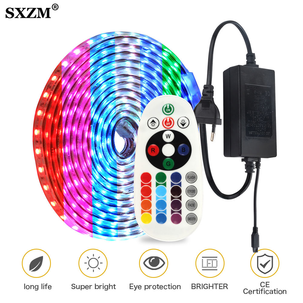 AC220V RGB Flexible LED Strip 5050 RGB Color Changeable with 24Key Remote Controller IP67 Waterproof Outdoor Use LED Light Strip